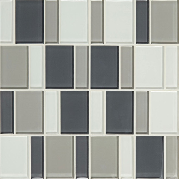 "Supplier: American Olean, Series: Color Appeal Renewal Glass Tile Mosaic, Name: C134 Silver Spring Blend - Glossy, Size: 3"" Block"