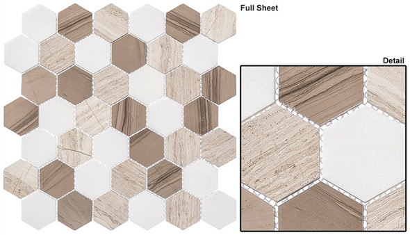 "Colonial - CLNL-271 Bay Colony - 2"" Hexagon Marble Stone Mosaic"
