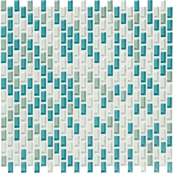 Supplier: American Olean, Series: Color Appeal Renewal Chain Link Glass Tile Mosaic, Name: C128 Sea Pearl Blend, Size: Micro Brick