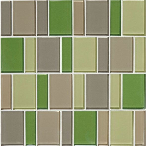 "Supplier: American Olean, Series: Color Appeal Renewal Glass Tile Mosaic, Name: C129 Willow Brook Blend - Glossy, Size: 3"" Block"
