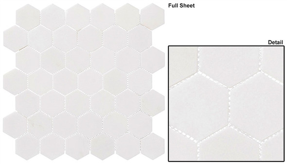 "Colonial - CLNL-276 Light Canopy - 2"" Hexagon Marble Stone Mosaic"