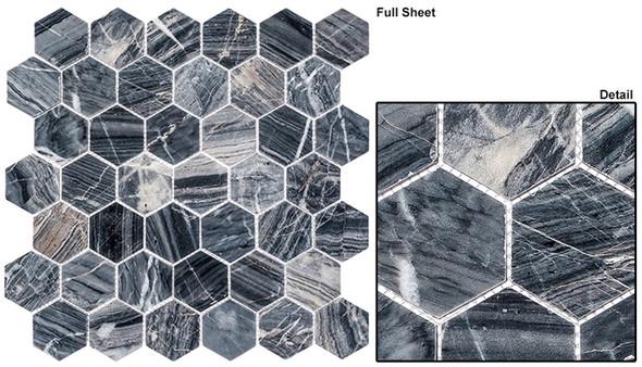 "Colonial - CLNL-277 Salem Charcoal - 2"" Hexagon Marble Stone Mosaic"