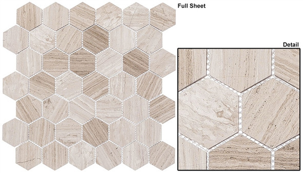"Colonial - CLNL-278 Virginia Dunes - 2"" Hexagon Marble Stone Mosaic"