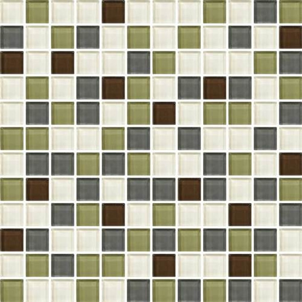 Daltile Color Wave Glass - CW26 Autumn Trail Blend - 1 X 1 Dal Tile Glass Tile - Glossy - Sample