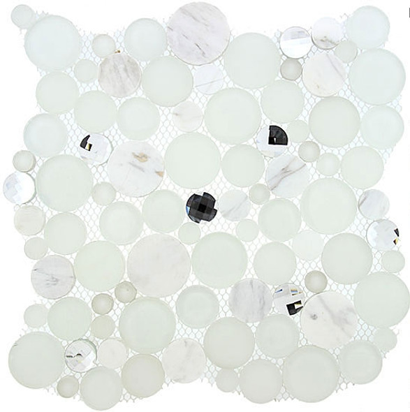 Supplier: Tile Store Online, Name: SBS-1510, Color: Soap Suds,Type: Round Glass & Stone Mosaic Tile, Size: 11.75X11.75