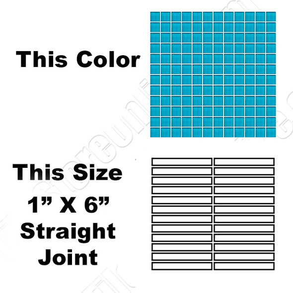 Daltile Color Wave Vibrant Glass - CW32 Capri Breeze - 1 X 6 Straight Joint Dal Tile Glass Mosaic Tile - Glossy - Sample