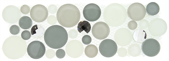Supplier: Tile Store Online, Name: SLS-1611, Color: Smokey Froth,Type: Round Glass & Stone Mosaic Listello Border, Size: 4X11.25