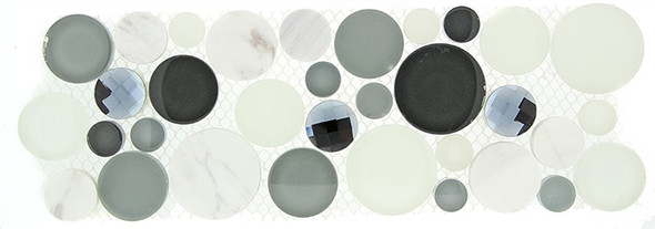 Supplier: Tile Store Online, Name: SLS-1612, Color: Grey Fizz,Type: Round Glass & Stone Mosaic Listello Border, Size: 4X11.25