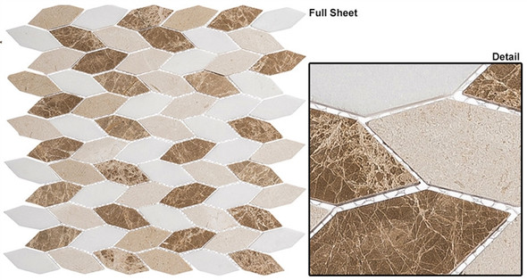 "Colonial - CLNL-284 Providence Pier - 2"" Long Hexagon Leaf Shape Marble Stone Mosaic"