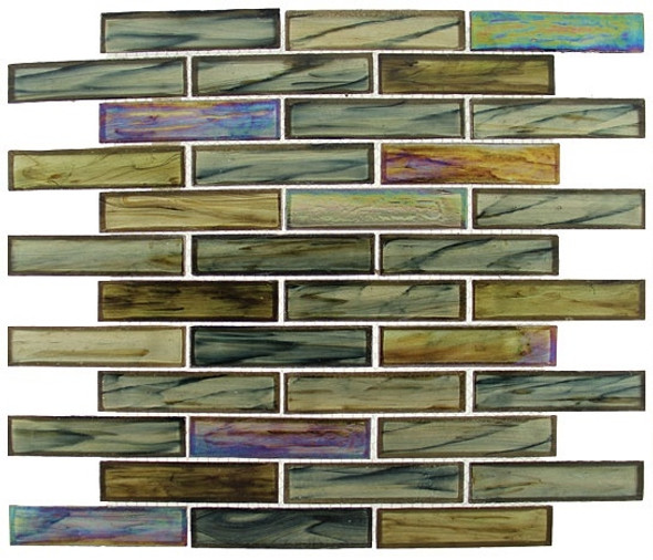 Supplier: Tile Store Online, Name: Oceania OCS-174, Color: Nautical Garden,Type: Brick Subway Glass Mosaic Tile, Size: 1X4