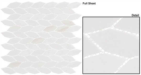 "Colonial - CLNL-286 Light Canopy - 2"" Long Hexagon Leaf Shape Marble Stone Mosaic"