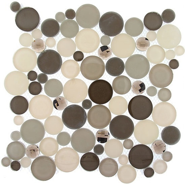 Supplier: Tile Store Online, Name: SBS1515, Color: Platinum Foam,Type: Round Glass Mosaic Tile, Size: 11.75X11.75