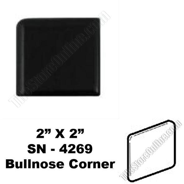 Supplier: Daltile, Type: Glazed Ceramic Tile Accessory Trim Tile, Series: Semi Gloss Bullnose Corner, Name: K111 SN4269, Color: Black, Category: Ceramic Tile, Price: $.99, Size: 2 X 2
