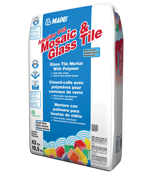 Mapei Adesilex P10 - Premium Glass Tile Thinset Mortar Adhesive - White - 43 lb.