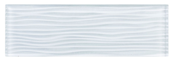 Crystile - C00-W Bright White - 4X12 Wavy Subway Glass Tile Plank - Glossy - SAMPLE