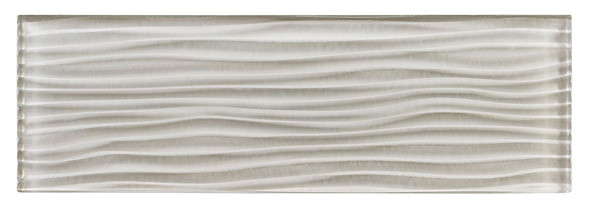 Crystile Cascades - C03-W Fog - 4X12 Wavy Subway Glass Tile Plank - Glossy