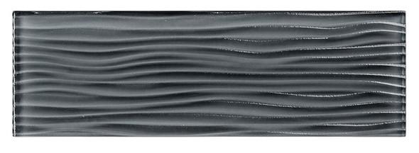 Crystile Cascades - C06-W Eclipse - 4X12 Wavy Subway Glass Tile Plank - Glossy