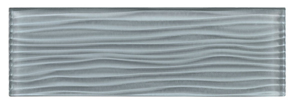 Crystile - C07-W Gray Sky - 4X12 Wavy Subway Glass Tile Plank - Glossy- SAMPLE
