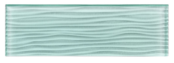 Crystile - C08-W Soft Mint - 4X12 Wavy Subway Glass Tile Plank - Glossy- SAMPLE