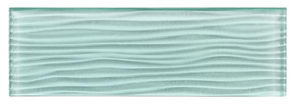 Crystile Cascades - C08-W Soft Mint - 4X12 Wavy Subway Glass Tile Plank - Glossy- SAMPLE