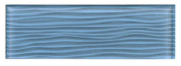 Crystile - C09-W Blue Sea Foam - 4X12 Wavy Subway Glass Tile Plank - Glossy