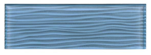 Crystile Cascades - C09-W Blue Sea Foam - 4X12 Wavy Subway Glass Tile Plank - Glossy - SAMPLE