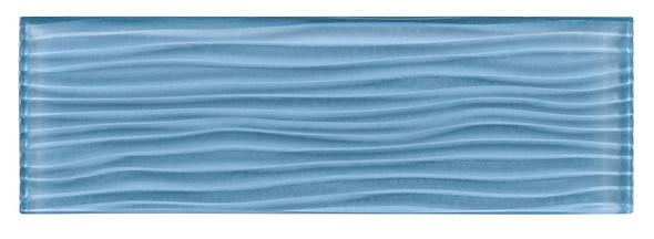 Crystile Cascades - C10-W Pacific Ocean - 4X12 Wavy Subway Glass Tile Plank - Glossy - SAMPLE