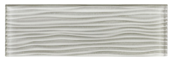 Crystile Cascades - C11-W Morning Mist - 4X12 Wavy Subway Glass Tile Plank - Glossy - SAMPLE