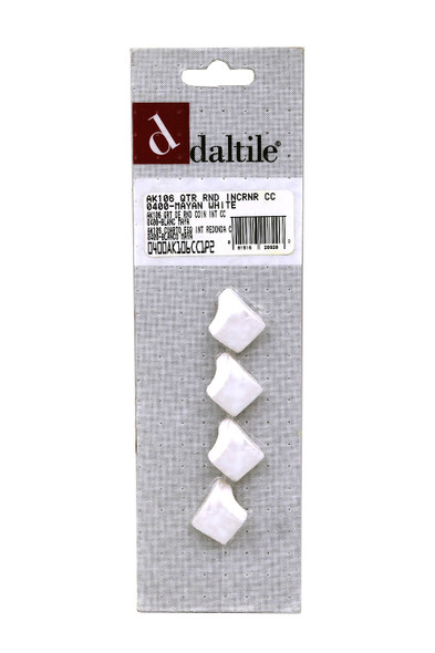 Copy of Daltile - AK106 Quarter Round IN Corner - 0400 Mayan White - Dal Tile Ceramic Finish Trim - 4 PACK