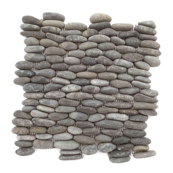 Stacked Standing River Rock Pebble Stone - Swarthy Black Horizontal Calades - Interlocking Sheet