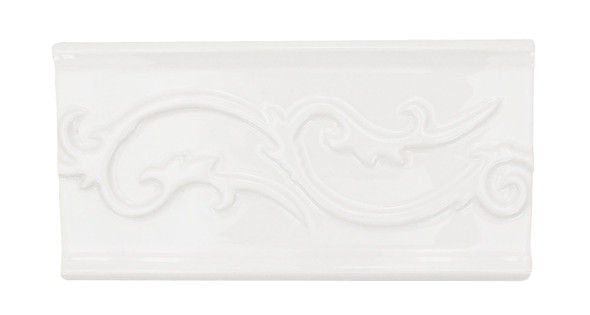 Daltile - Fashion Accents - Polaris Astrid Blanco Listello -  0100 White - 4 X 8 Ceramic Decorative Border Liner Tile