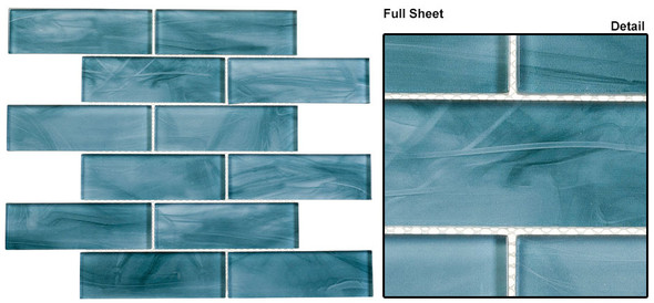 Victorian Icon - VIC 1905 Neo Teal - 2 X 6 Subway Rectangle Brick Shape Glass Tile - SAMPLE