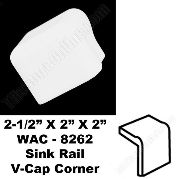 Daltile V Cap Corner - 0190 Arctic White - WAC8262 Sink Rail VCap Corner - Counter Top Edge Trim Tile