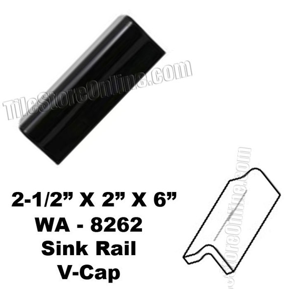 Daltile V Cap - K111 Kohler Black - WA8262 Sink Rail VCap - Counter Top Edge Trim Tile
