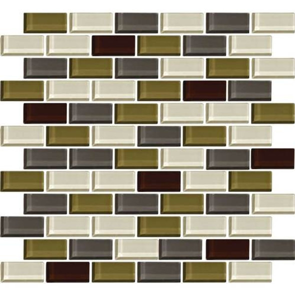 Daltile Color Wave Glass - CW26 Autumn Trail Blend - 1 X 2 Brick Subway Dal Tile Glass Tile - Glossy - Sample