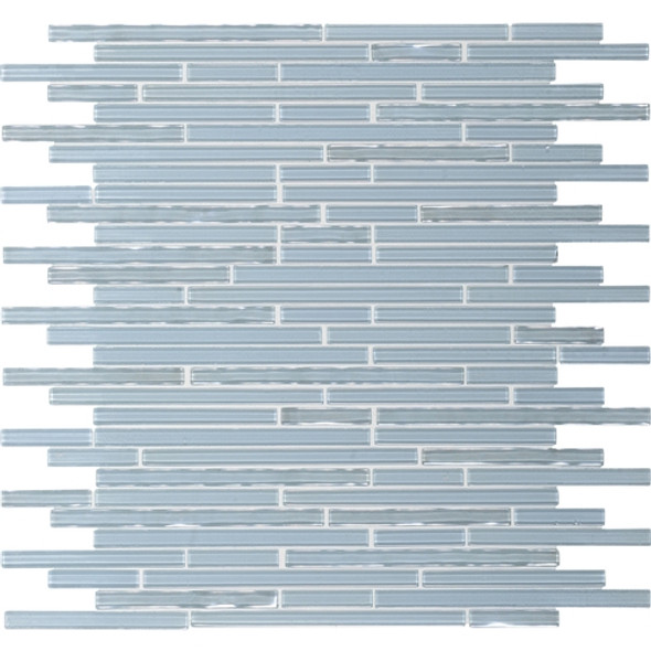 Daltile Opulence Glass Mosaic - OP02 Aquamarine Deep Ice- Random Linear Glass Tile Mosaic * SAMPLE *