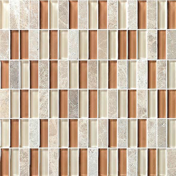 Bristol Studios - Crystal Stone - G2288 Roman Bricks - 5/8 X 1-7/8 Brick Subway Glass & Stone Tile Mosaic - Sample
