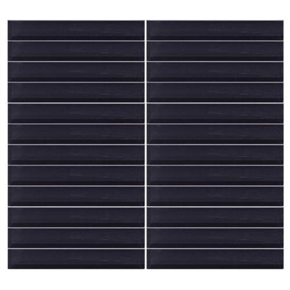 Supplier: Daltile, Series: Color Wave, Name: CW20 Midnight Black - Glossy, Color: White, Category: Glass Tile, Size: 1 X 6