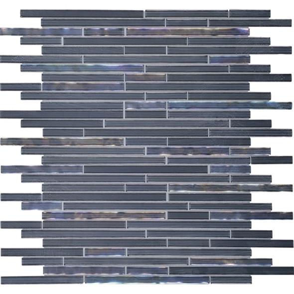 Daltile Opulence Glass Mosaic - OP03 Indigo Evening - Random Linear Glass Tile Mosaic * SAMPLE *
