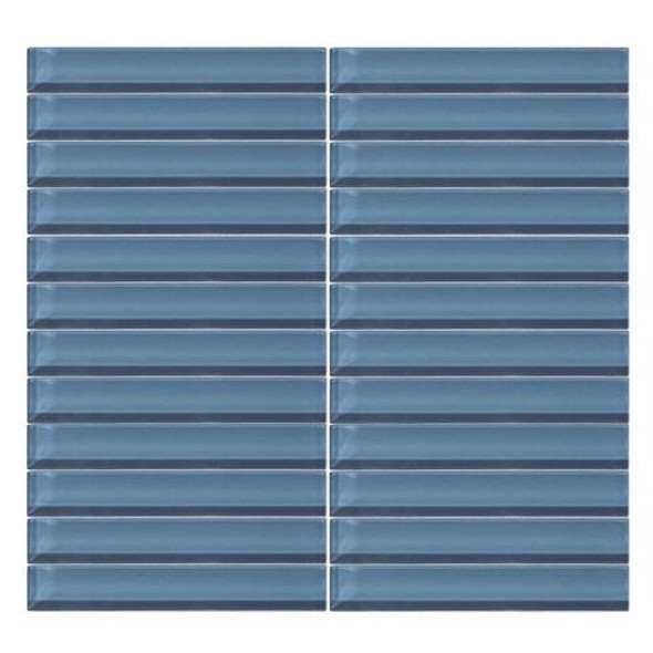 Daltile Color Wave Glass - CW14 Twilight Blue - 1 X 6 Straight Joint Dal Tile Glass Mosaic Tile - Glossy - Sample