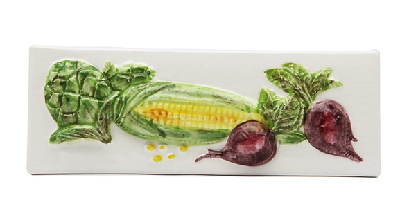 "Porcelanosa - L Antic Colonial - 3"" X 8"" Artichoke Corn Beets Vegetable Relief Handcrafted Listello - White - Painted Glazed Hand Craft Tile"