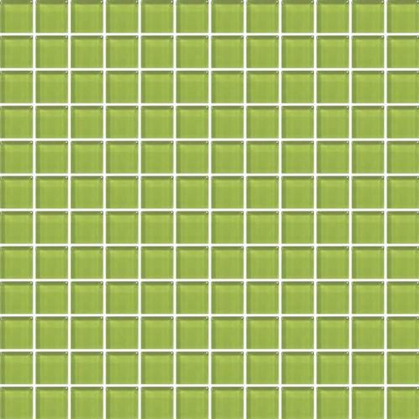 Daltile Color Wave Vibrant Glass - CW33 Lime Glow - 1 X 1 Dal Tile Glass Tile - Glossy - Sample