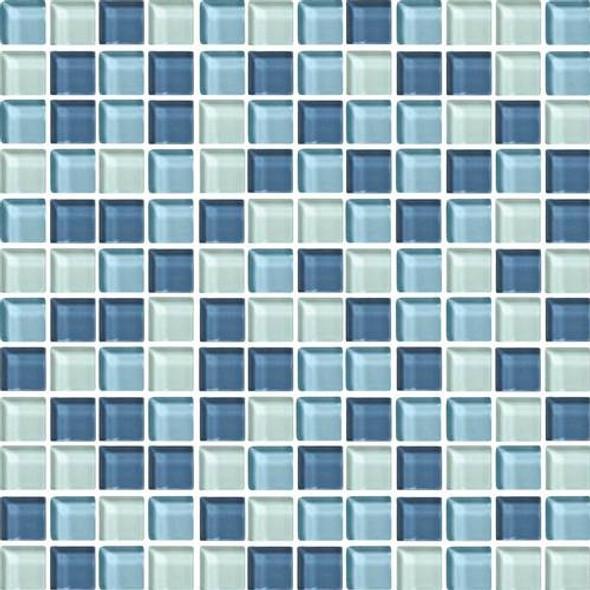 Daltile Color Wave Glass - CW27 Winter Blues Blend - 1 X 1 Dal Tile Glass Tile - Glossy - Sample