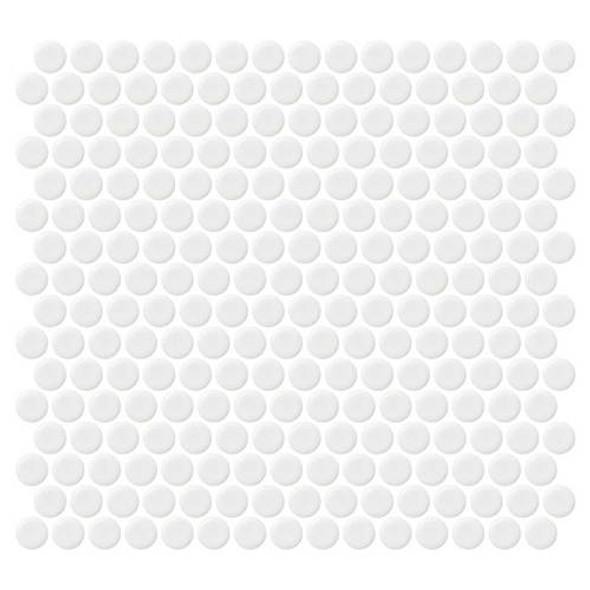 Daltile Fanfare Retro Rounds - RR02 Bold White - 1 inch Penny Round Glazed Porcelain Mosaic Tile - Matte Finish - Sample