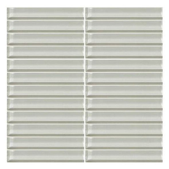 Daltile Color Wave Glass - CW02 Feather White - 1 X 6 Straight Joint Dal Tile Glass Mosaic Tile - Glossy - Sample