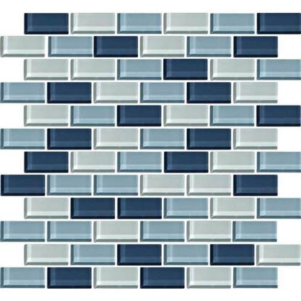Daltile Color Wave Glass - CW27 Winter Blues Blend - 1 X 2 Brick Subway Dal Tile Glass Tile - Glossy - Sample
