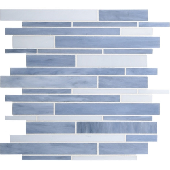 Daltile Serenade Stained Glass Mosaic - F188 Techno - Random Linear Glass Tile Mosaic * SAMPLE *