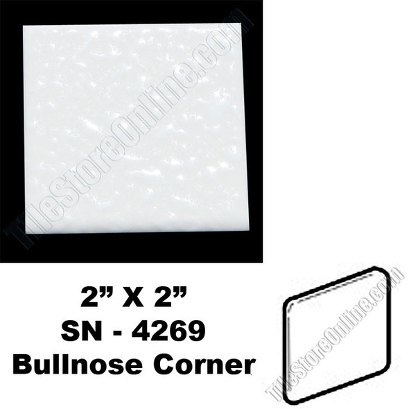 Supplier: Daltile, Type: Glazed Ceramic Tile Accessory Trim Tile, Series: Semi Gloss Bullnose Corner, Name: 0400 SN4269, Color: Mayan White, Category: Ceramic Tile, Price: $.99, Size: 2 X 2