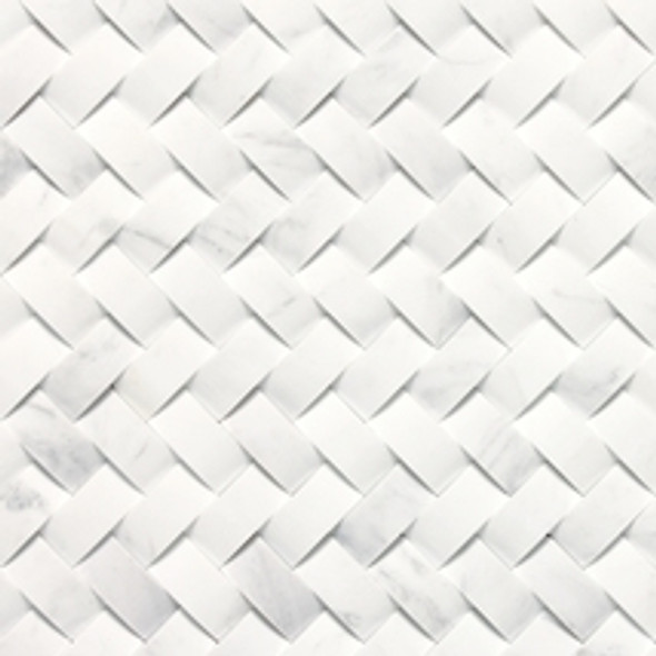 Daltile M313 Contempo White - 3D Contoured Basketweave - Stone A La Mod Marble Mosaic - Honed - SAMPLE