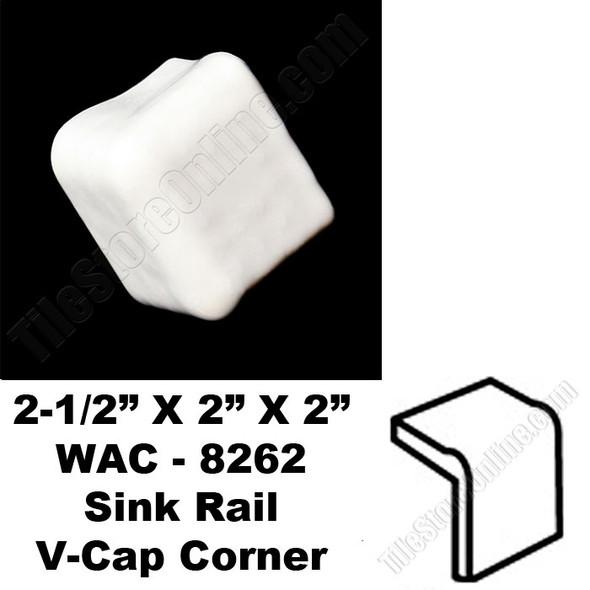 Daltile V Cap Corner - 0400 Mayan White - WAC8262 Sink Rail VCap Corner - Counter Top Edge Trim Tile